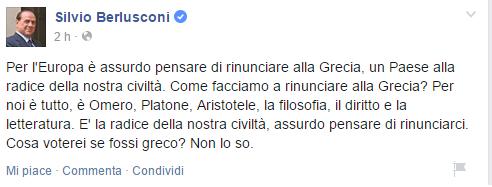 Crisi Grecia, post di Facebook di Berlusconi