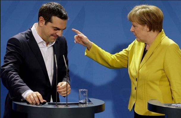 Crisi Grecia, immagine di Tsipras e Merkel