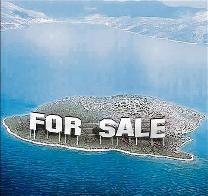 crisi grecia, isola con cartello in vendita