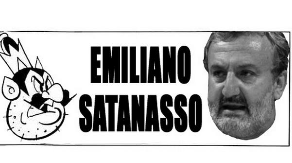 immagine di emiliano sulla destra e a sinistra la scritta emiliano satanasso