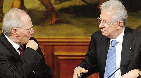 ministro finanze tedesco schaeuble discute con l'ex premier monti