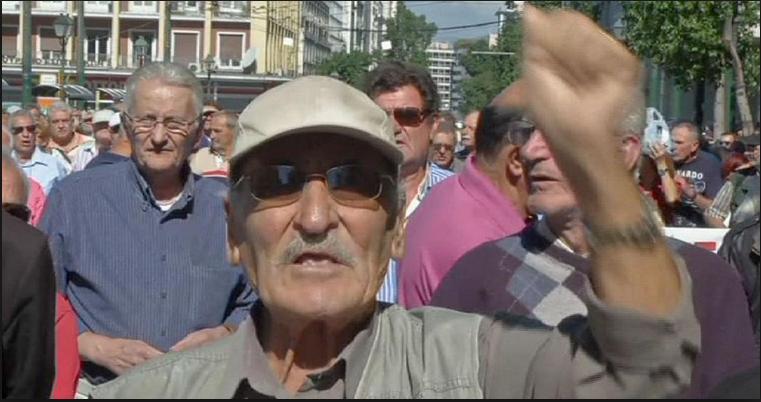 pensioni greche anziano arrabbiato