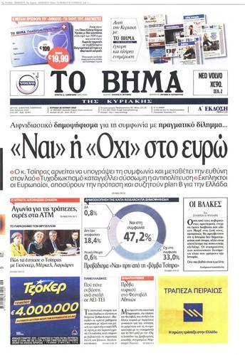 referendum Grecia , giornale greco con al centro una torta con percentuali