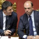 il premier e il ministro dell'interno angelino alfano in transatlantico