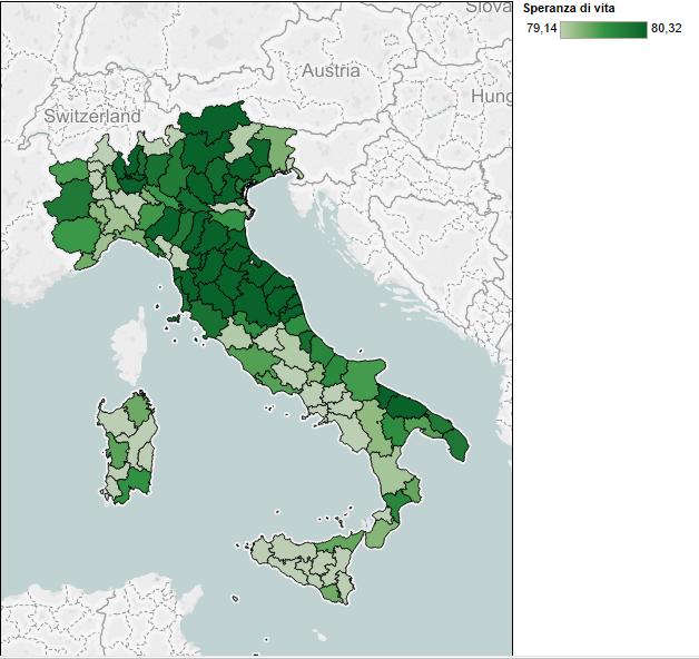 speranza di vita, mappa dell'Italia con colori diversi, in base alla speranza di vita alla nascita