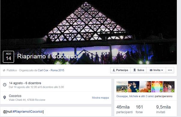 screen gruppo facebook per riapertura cocoricò