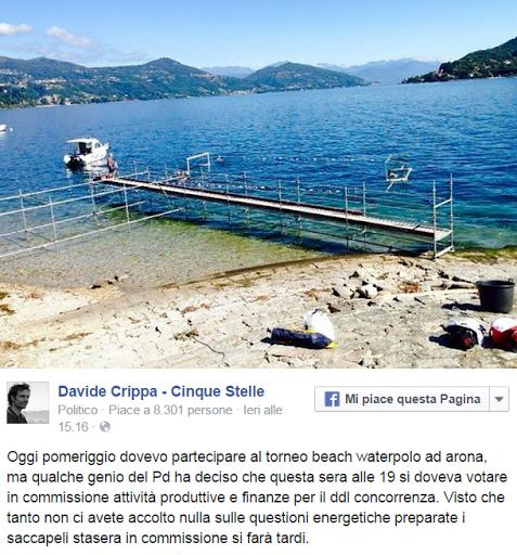 Davide Crippa su Facebook