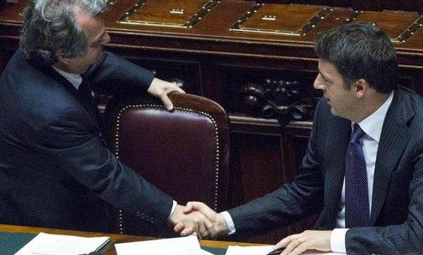premier renzi stringe la mano a brunetta alla camera numeri senato