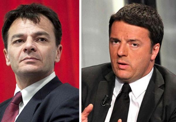sinistra italiana stefano fassina in giacca e cravatta e a destra renzi sempre in abito