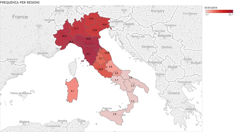 Ora di religione, mappa dell'Italia con colori diversi per frequenza all'ora di religione