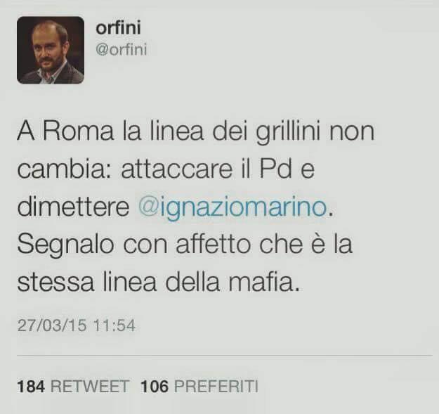 Roma, Marino, elezioni, tweet del commissario del pd di roma contro m5s