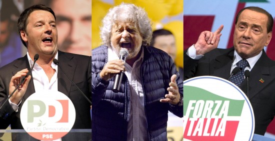 Sondaggi politici, Sondaggio Lorien, Grillo, Renzi, Berlusconi. immagini dei tre leader