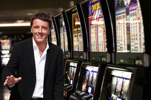 renzi a sinistra e sullo sfondo le slot machine