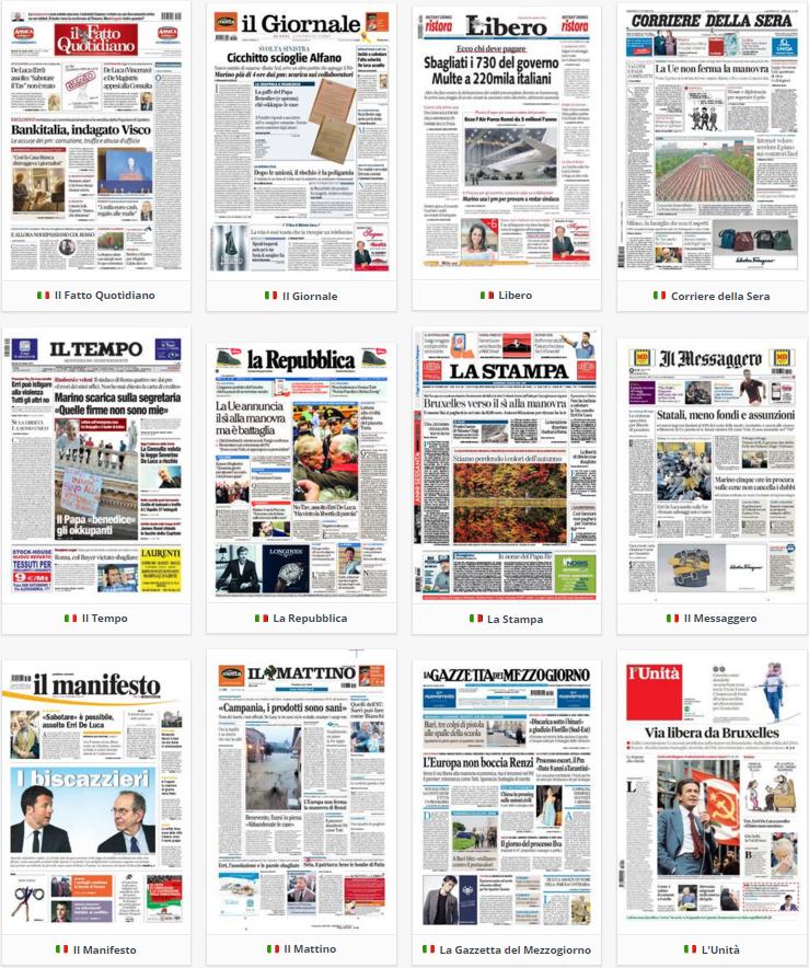 rassegna stampa politica prime pagine 20 ottobre 2015