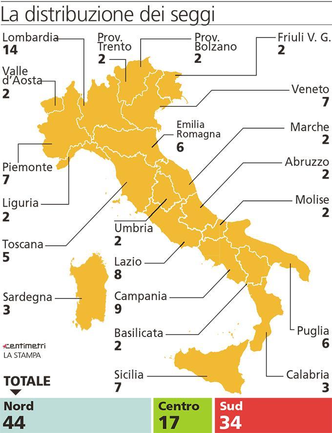 riforma del senato, mappa dell'Italia con i seggi per regione