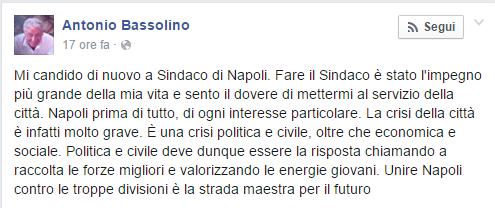 Bassolino, il suo post su FB