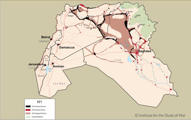 ISIS mappa di Siria e Iraq