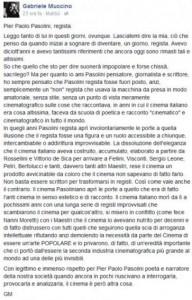 Gabriele Muccino critica le qualità di regista di Pasolini con un post su Facebook