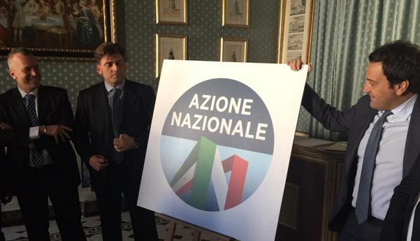 presentazione_azione_nazionale_alleanza_nazionale_destra, immagine del simbolo di alleanza nazionale ed alcuni dei suoi promotori