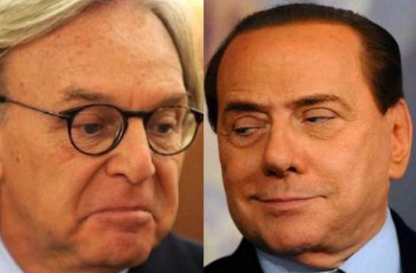 Della Valle, Berlusconi, Salvini, a sinistra primo piano di della valle con espressione interrogativa e a fianco berlusconi