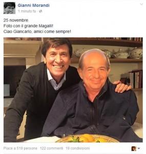 Segnali di pace tra Morandi e Magalli, dopo il giallo del selfie