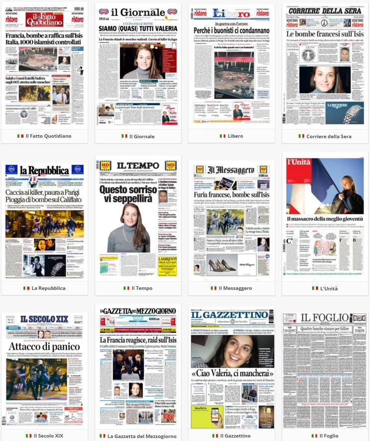 prime pagine, rassegna stampa, 16 novembre 2015