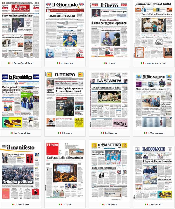 prime pagine, rassegna stampa, 6 novembre 2015