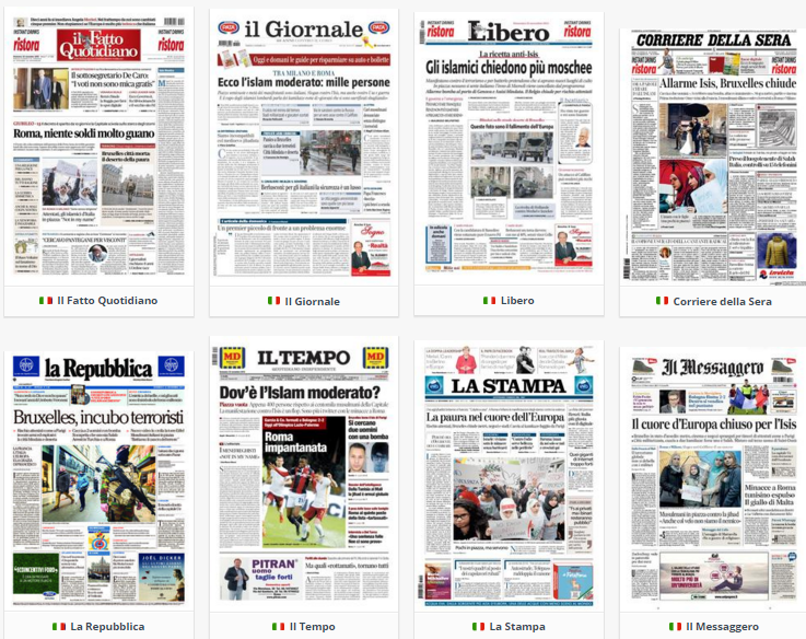 rassegna stampa , elenco di prime pagine dei giornali del giorno