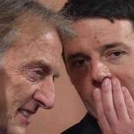 Montezemolo, Renzi, Governo, Renzi con la mano davanti alle labbra parla con Montezemolo