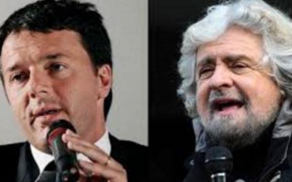 Renzi, Pd, M5S, Grillo, a sinistra Renzi col microfono in mano e a destra Beppe Grillo