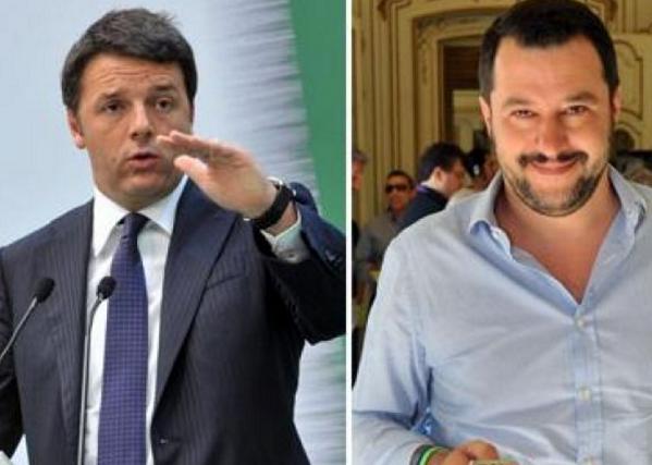 Matteo Renzi, Matteo Salvini, fotomontaggio con a sinistra la foto del premier renzi in giacca e cravatta e affianco il segretario della lega salvini con camicia celeste