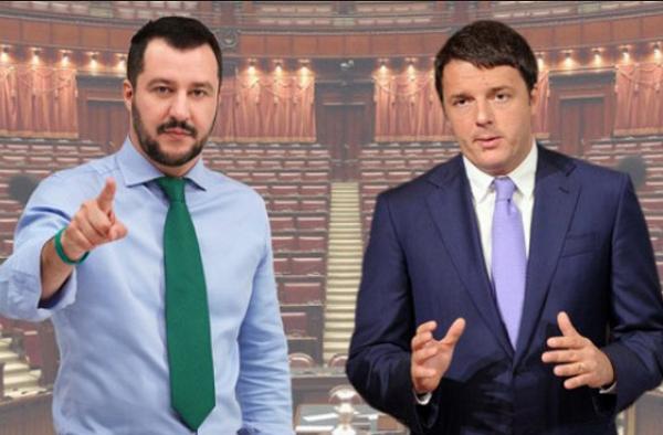 Matteo Renzi, Matteo Salvini, fotomontaggio con a sinistra il segretario della lega con camicia celeste e cravatta verde e a destra il premier renzi in giacca e cravatta e sullo sfondo l'emiciclo