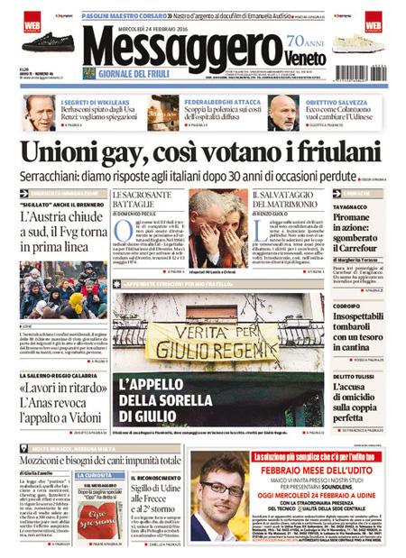 Messaggero Veneto 24 febbraio 2016