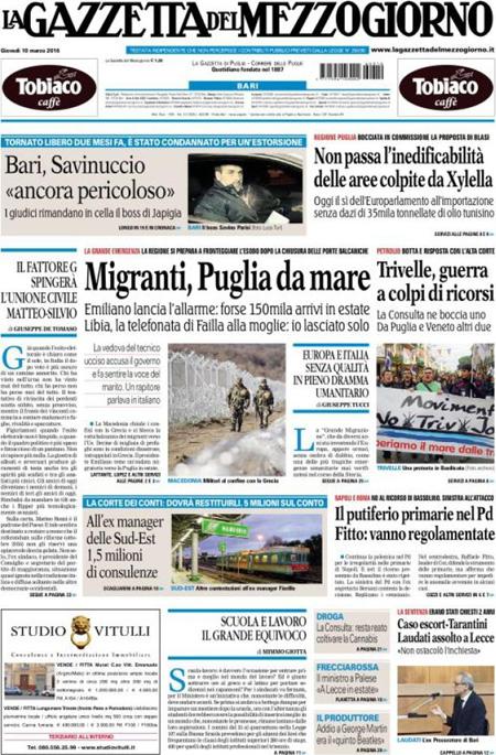 Gazzetta del Mezzogiorno 10 marzo 2016