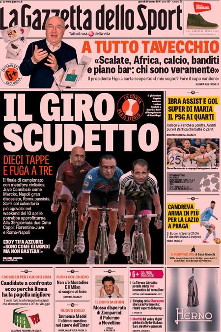 Gazzetta dello Sport 10 marzo 2016