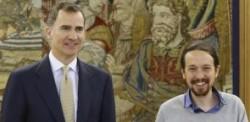 Crisi Spagna, Iglesias di Podemos dal re in jeans e maglioncino, e 20 minuti in ritardo