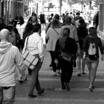 Popolazione folla gente per strada foto in bianco e nero popolazione demografia