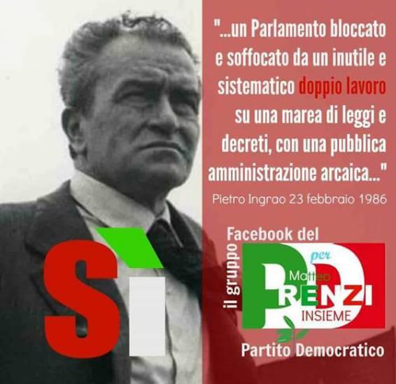 Il manifesto con il logo del Pd in cui vengono riportate e parole di Ingrao contro il bicameralismo perfetto. La battaglia sul referendum si gioca anche sul passato