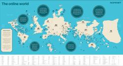 La mappa dei paesi se fossero grandi quanto i loro domini web