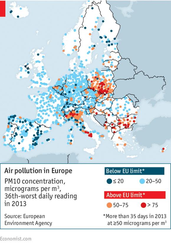 aree più inquinate, mappa dell'Europa