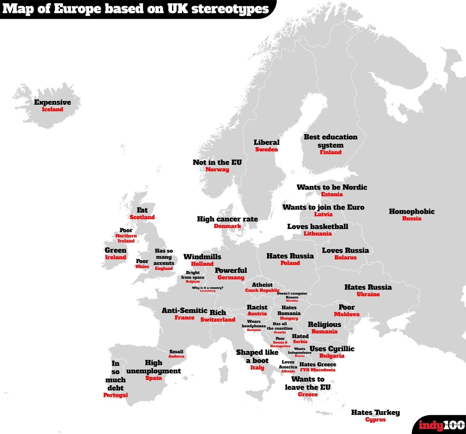 Brexit ed oltre la mappa degli stereotipi britannici sull - Mappa di ungheria ed europa ...