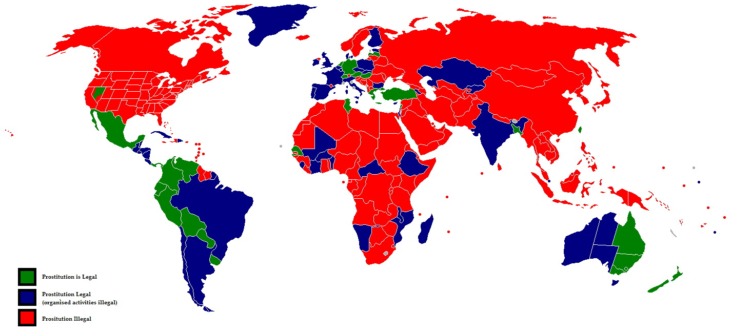 prostituzione legale, mappa del mondo