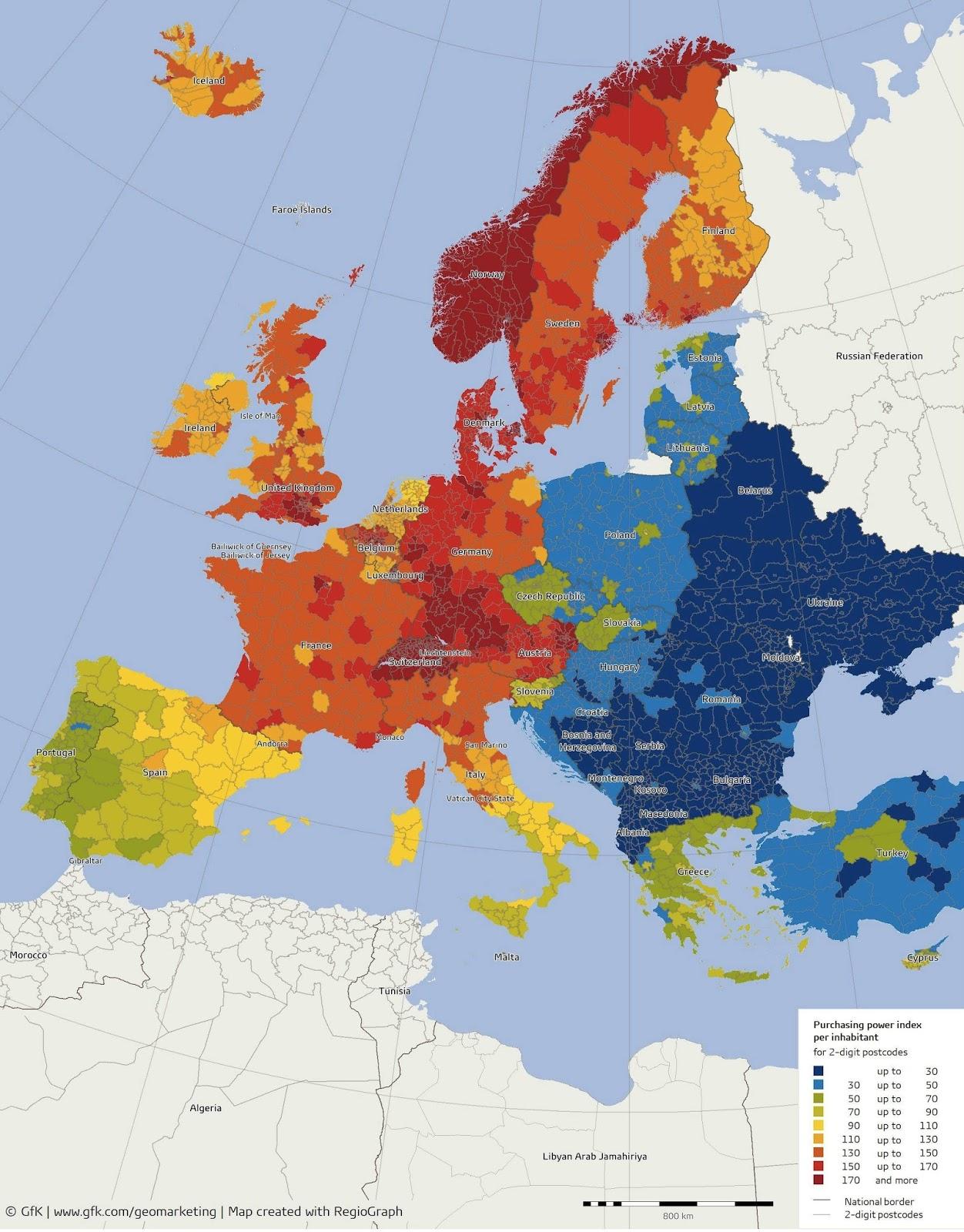 reddito pro capite, mappa dell'Europa
