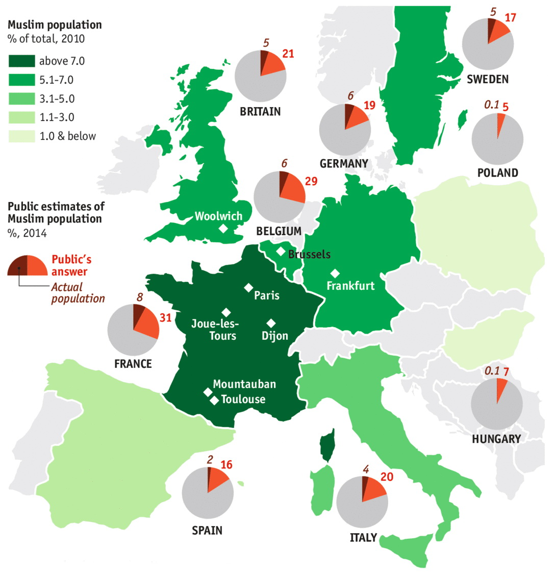 musulmani in Europa, mappa dell'Europa