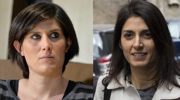 fotomontaggio con a sinistra Chiara Appendino e a destra Virginia Raggi, diretta risultati elezioni comunali