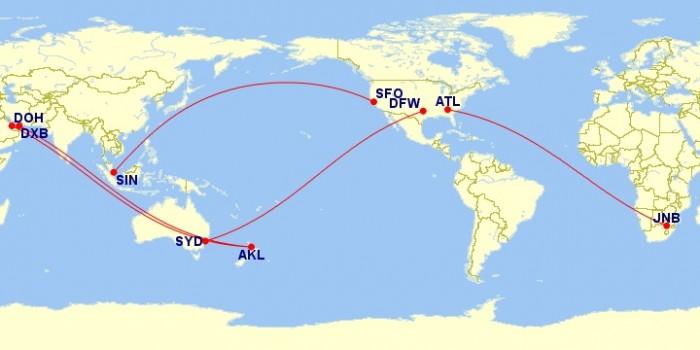 mappa voli aerei diretti più lunghi al mondo
