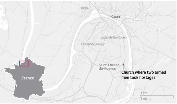 attentato rouen, francia, attentato chiesa francia, attentato isis