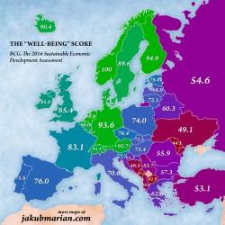 Europa, la mappa dei paesi in cui si vive meglio