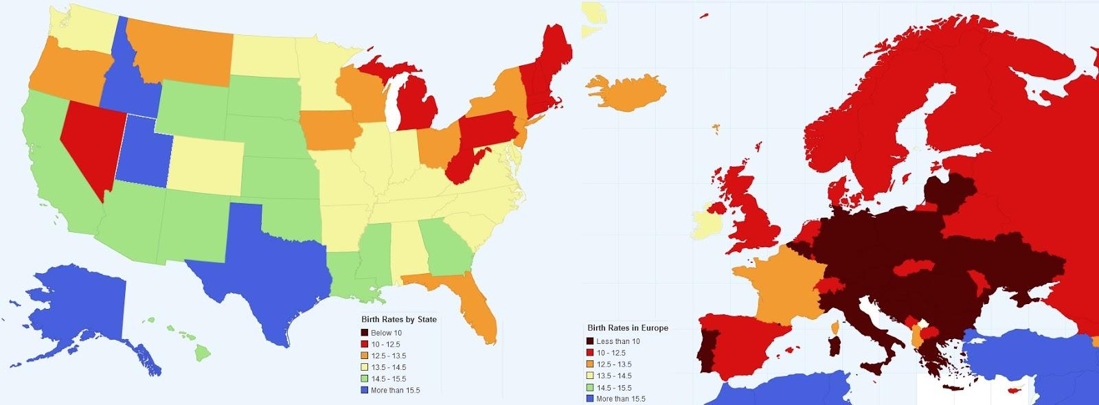 Cartina Europa E Medio Oriente.Calo Delle Nascite La Mappa Di Europa E Usa A Confronto Non C E Paragone