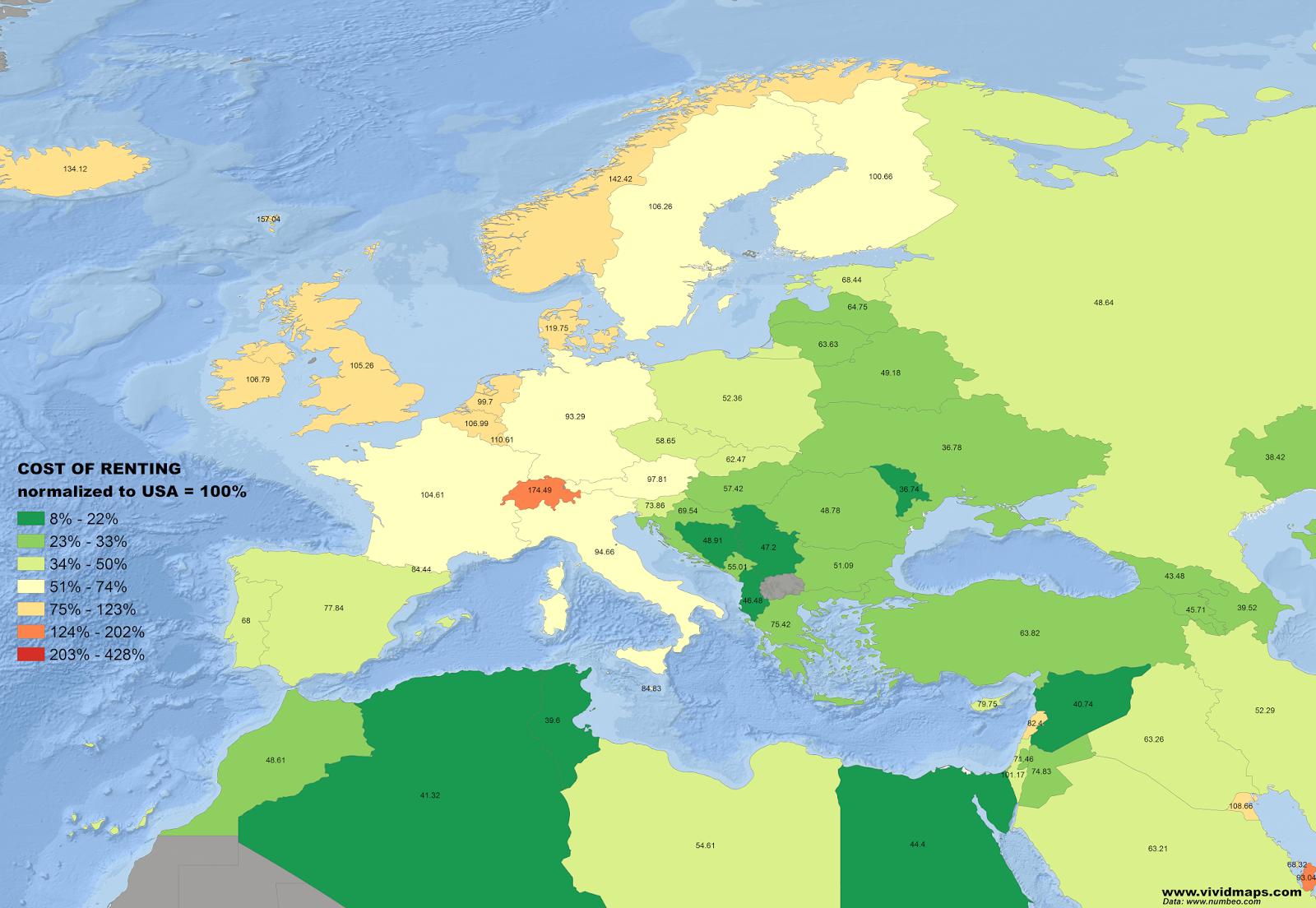 costo degli affitti, mappa dell'Europa